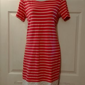 Tommy Hilfiger red white striped dress S